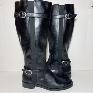 Riding Boots Silver Buckles Wide Extendable Calf